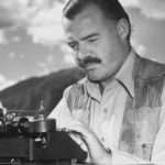 Hemingway with Underwood typewriter