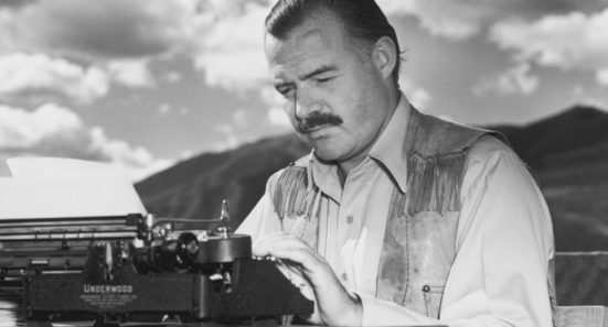 Hemingway with Underwood typewriter